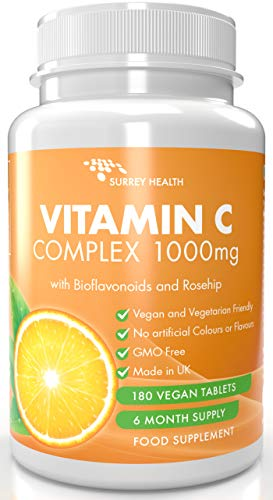 Vitamin C 1000mg with Bioflavonoids and Rosehip - 180 Vegan Tablets - 6 Month Supply - Made in The UK by Surrey Health