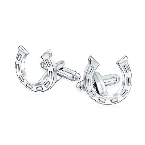 Bling Jewelry Bonne Chance Équestre Fer À Cheval Chemise Boutons De Manchette Homme Cadeau Charnière en Acier Laiton Ton Argent Retour