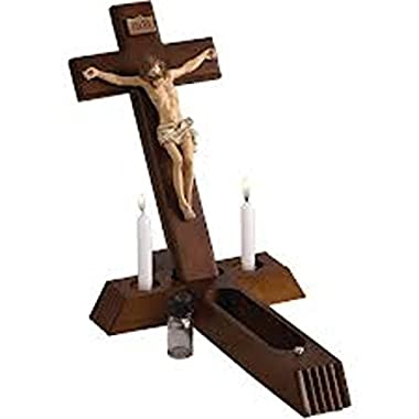 Roman 4 Piece Religous Classic Wooden Sick Call Crucifix Set 14