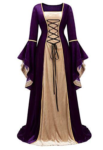 jutrisujo Mittelalter Kleidung Damen samtkleid lang samt Kleid Renaissance viktorianischen kostüm maxikleid Vintage Retro trompetenärmel Lila S