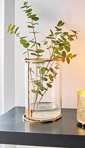 Dekoleidenschaft Glasvase mit Metallrahmen, Gold, Blumenvase, Windlicht, Kerzenhalter, Kerzenständer