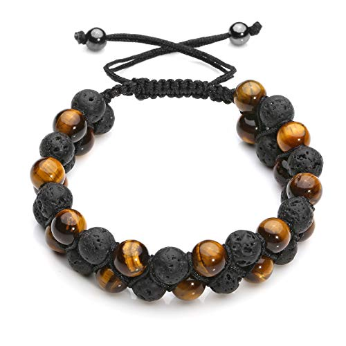 CrystalTears Mens Lava Rock Bracelet-Yellow Tiger Eye Bead Bracelet Men Natural Stone Double Layer Beads Yoga Essential Oil Braid Bracelets