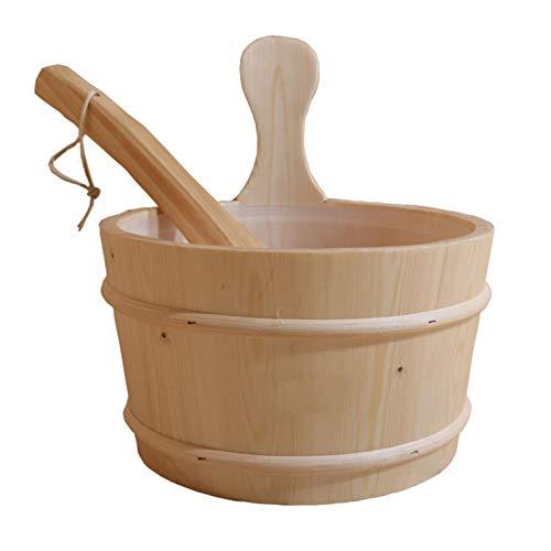 Aicheng Sauna Wooden Bucket and Ladle Kit, Wood Sauna Bucket with Water Scoop, Wooden Sauna Bucket, for Sauna