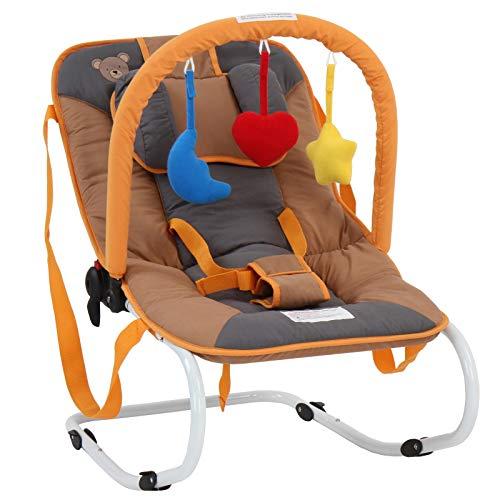 Infantastic® Babywippe - mit 3-Punkt-Sicherheitssystem, stabilem Metallrohr-Gestell, Schaukelfunktion, inkl. Spielbogen, 3 Spielzeuge, Honigbär - Babyschaukel, Schaukelwippe, Babytrage