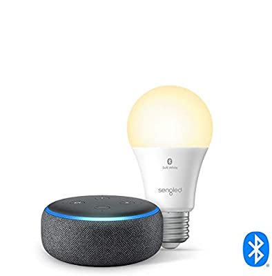 Echo Dot (3rd Gen) - Smart speaker with Alexa - Charcoal with Sengled Bluetooth bulb from