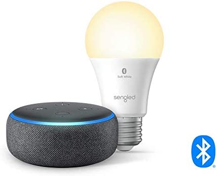 Echo Dot 3rd Gen Smart speaker with Alexa Charcoal with Sengled Bluetooth bulb product image