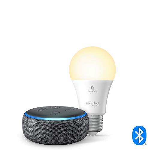 Echo Dot (3rd Gen) - Smart speaker with Alexa - Charcoal with Sengled Bluetooth bulb