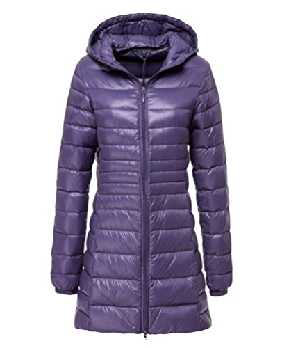LvRao Damen Langarm Daunenjacke Gesteppt Ultra Leicht Verpackbar Daunen Mantel Lässig Länge Steppjacke mit Kapuze (Violett, CN 6XL)