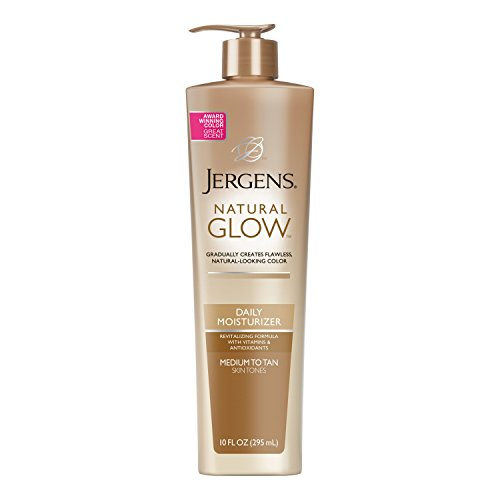 Jergens Natural Glow Sunless Tanning Lotion, Self Tanner, Medium to Tan Skin Tone, 10 Ounce Daily Moisturizer Pump, featuring Antioxidants and Vitamin E