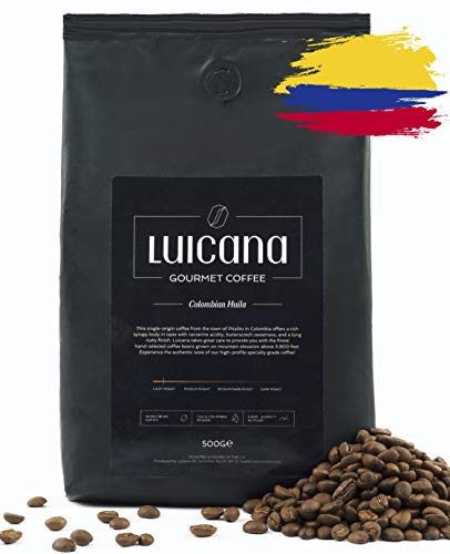 Luicana kolumbianische Kaffeebohnen aus sortenrein erlesenen Kaffee-Plantagen - passend für Bistrokanne, Bodum, Filter-Kaffee, Brüh-Kaffee, Espresso - Ganze geröstete Kaffeebohnen Spezialitätenkaffee