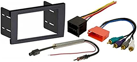 Aftermarket Radio Stereo Installation Double Din Dash Kit Mount Trim Bezel for Select Audi A4 and RS4 Models WITH Wire Harness and Antenna Adapter - BOSE System