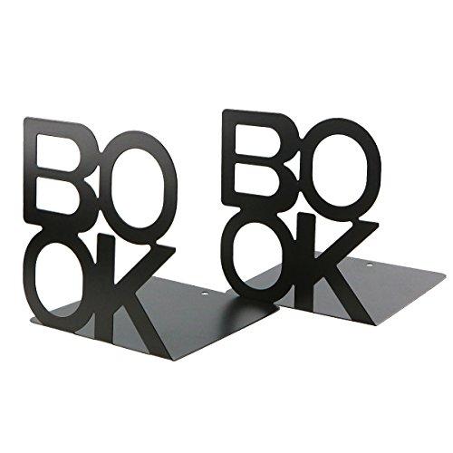 Prettyui - Buchstützen / Bücherstützen aus Metall, schlichtes BOOK Design, für Schreibtisch, Büro, Zuhause, Dekoration, Geschenk, schwarz