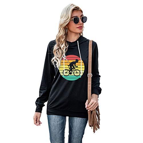 zhangcr Langarm-Sweatshirt für Damen, mit Kordelzug, Regenbogen gestreift, Fahrrad-Grafik