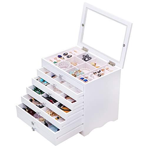 Dainty Joyero blanco Joyero para Mujer, 6 niveles con 5 cajones con tapa de cristal, gran joyero para collares, pulseras, pendientes, horquillas