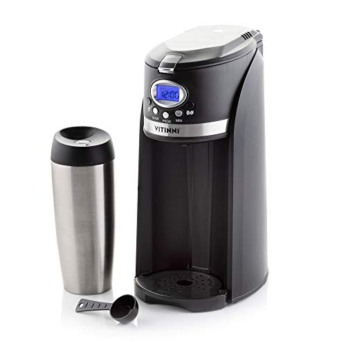 Bean to Cup Coffee Maker with On The Go Travel Mug | Automatic Timer, 420ml Water Tank, Holds 20-25g Coffee Beans