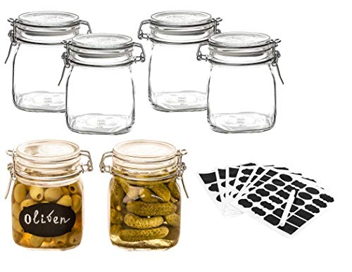 BigDean 6X Bormioli Fido Gläser 750 ml mit Bügelverschluss & 102 Tafeletiketten - luftdicht + dickwandig - Glasbehälter Vorratsdosen Set Glas-Dosen Einmachgläser