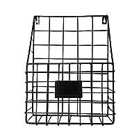 ファイルホルダーをぶら下げ - 壁掛けメタルメッシュバスケットワイヤーマガジンラックシェルフオフィスフォルダーオーガナイザー名タグスロットと デスクトップファイルオーガナイザー (Color : Black Shelf)