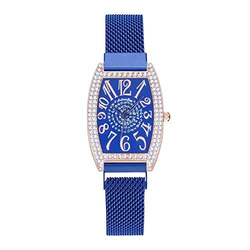 JZDH Relojes para Mujer Reloj de Regalo analógico de la Correa de Acero Inoxidable de Cuarzo Casual de Las señoras Reloj de Regalo analógico Relojes Decorativos Casuales para Niñas Damas (Color : E)