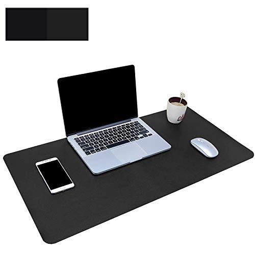 Ewolee Schreibtischunterlage, Doppelseitiges PU-Leder Laptop Tischunterlage, wasserdichte Mausepad für Büro und Zuhause, 60x30 cm (schwarz)