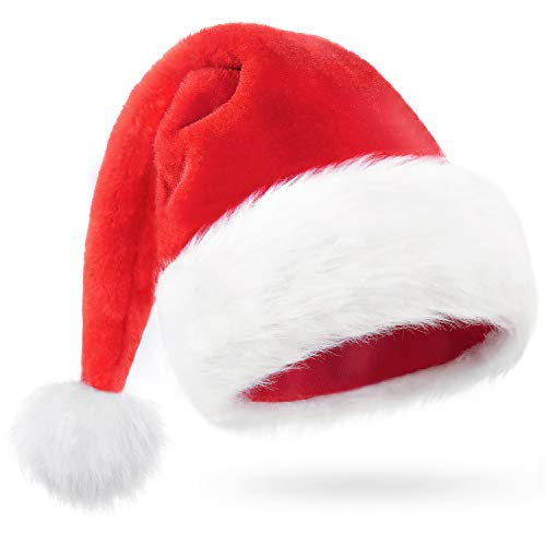 iLoxin Santa hat Christmas hat, Xmas Holiday Hat for Adults,Santa Claus Cap,Fur Christmas Headwear Red and White