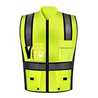 LMei-RV Gilet de sécurité/Combinaison de Protection Haute visibilité, Poches Multiples avec Gilet de Travail en Plein air à Bandes réfléchissantes