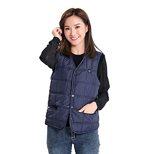 Review Unisex Electric Heated Hooded Vest Winter Outdoor Battery Heating USB Charging Heating Jacket...