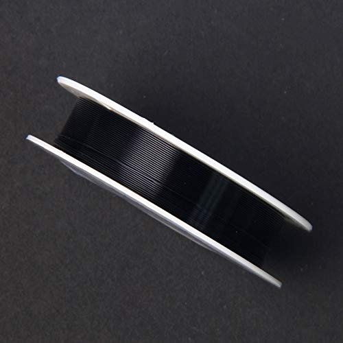 2 rollos de alambre de hierro de 0,4 mm de 12 m para hacer manualidades con flores de hierro coloreado, negro, Tamaño libre