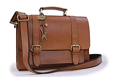 Catwalk Collection Handbags - Cuir Véritable - Femme Sac de Travail/Porte-documents/Besace/Mallette/Sachocheen - Femme - CANTERBURY - Tanne