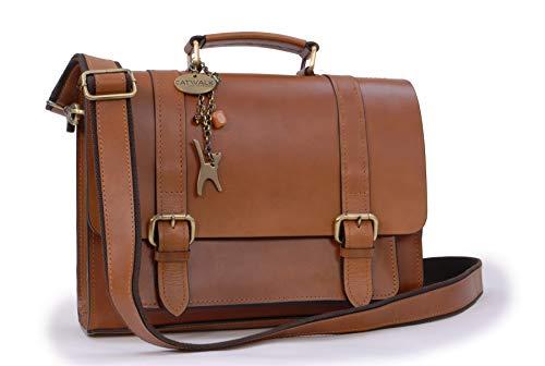 Catwalk Collection Handbags - Ladies Leather Work Satchel - Briefcase Messenger Bag - CANTERBURY - Tan