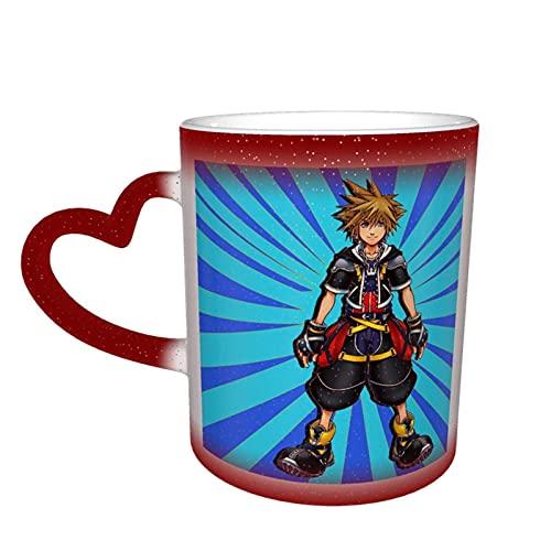 DJNGN Kingdom Hearts Taza de color sensible al calor que cambia de color Taza que cambia en el cielo Magia Arte divertido Tazas de café Taza de cerámica Regalos personalizados para amantes de la famil