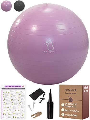 beneyu® Robuster & Rutschfester Gymnastikball mit Stabiler Doppelhub-Handpumpe - Ideal als Pilates Ball, Yoga Ball oder Sitzball bis 300 kg