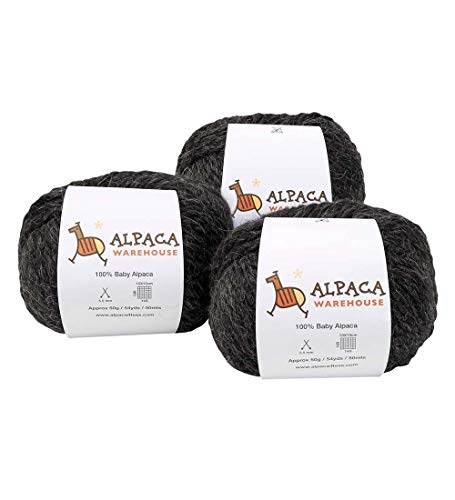 100% Baby Alpaca Yarn Wool Set of 3 Skeins Lace Worsted Bulky/Chunky Weight - Heavenly Soft and Perfect for Knitting and Crocheting (Charcoal Gray, Bulky/Chunky Weight)
