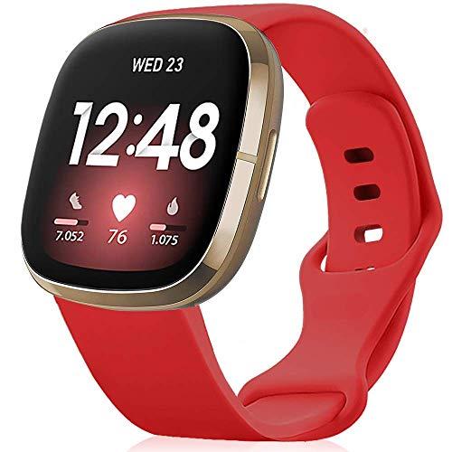 findway Correa Compatible para Fitbit Versa 3 Correa/Sense Correa Silicona Banda de Relojes para Hombres Mujeres, Deportivo Recambio de Pulsera (Sin Reloj), China Rojo, S