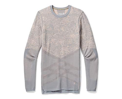 Smartwool Women's Intraknit Merino 200 Pattern Crew Stone Gray-Rose Cloud Floral Scape X-Large