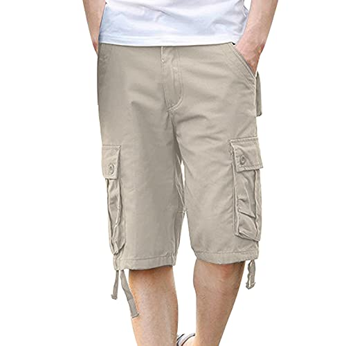 Men's Cargo Shorts Plus Size Casual Lightweight Multi Pocket Short Pants Classic Relaxed Fit Stretch Outdoors Shorts White