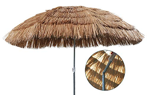 Mojawo Hawaii Strandschirm Sonnenschirm Strand Schirm Sonnenschutz Gartenschirm Bastschirm Sonnenschutz knickbar Polyester Beige Ø1,6m