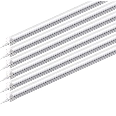 HONGLONG (Pack of 6) 8ft Led Tube Light Fixture, 44w, 4500lm, 6500K (Super Bright White) for Garage, Shop, Warehouse, Corded Electric with Built-in ON/Off Switch