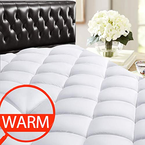 SOPAT Twin XL Mattress Pad Topper - Back to School Bedding Cooling Pillow Top Plush Mattress Cover Reversible Quilted Fitted with 8-21