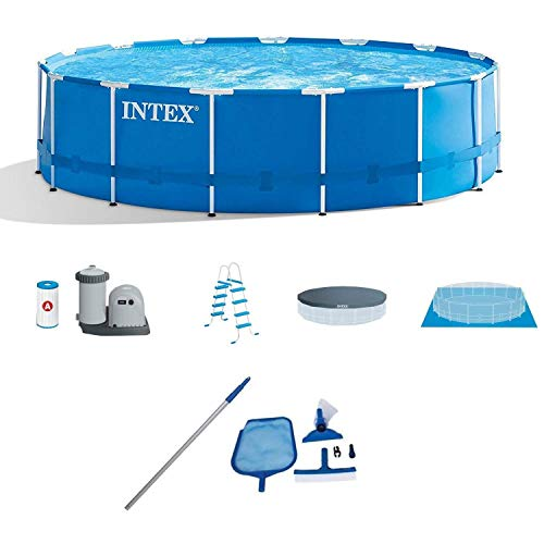 Intex 28241EH 15-Ft x 48-in Metal Frame Above Ground Swimming Pool with Filter Pump, Cover and...