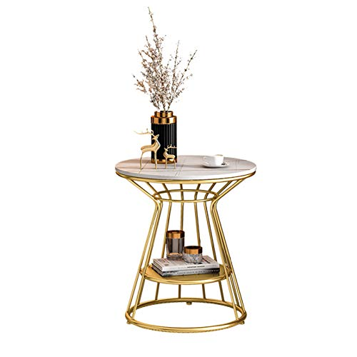 Table Living Room 2-tier Sofa Side Round Sofa Coffee Balcony Small End With Golden Metal Frame,50x55cm(Color:white)
