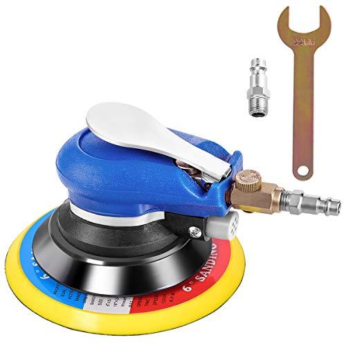 COSTWAY Druckluft Exzenterschleifer Schleifmaschine Multischleifer Poliermaschine mit Anschlussventil, Schraubenschlüssel / 15 cm Scheibe / 10000 U/min. / 6,3 bar / 350l/h