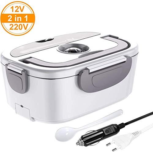 ERAY Boîte Chauffante Repas, 2 en 1 Lunch Box Chauffante Electrique 220V 12V 1.5L en Acier Inoxydable Amovible, Convient pour Voiture/Bureau/Pique-Nique (Gris)