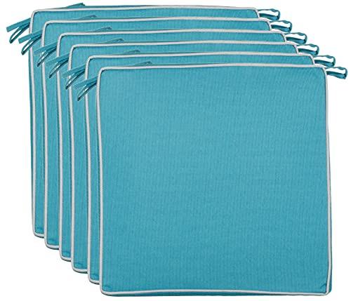 BRANDSSELLER Cuscino decorativo per esterni, resistente allo sporco e all'acqua, imbottitura 220 g, dimensioni: 40 x 40 x 4 cm (confezione risparmio da 6 pezzi, Aqua – strutturato)