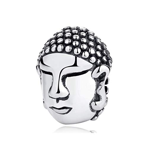 Zen Buddha Head 925 Sterling Silver Charm Bead for Pandora & Similar Charm Bracelets or Necklaces