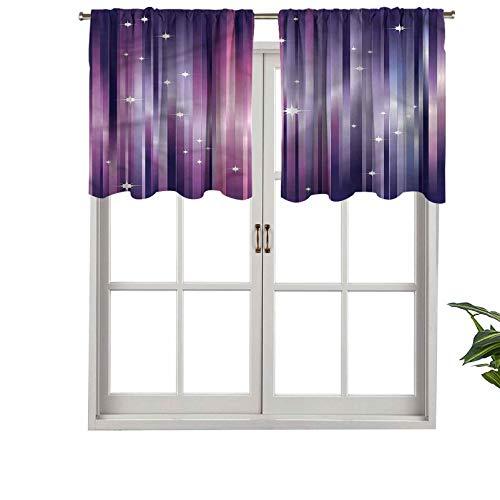 Hiiiman Cortinas con dobladillo para barra de cortina, líneas de vigas coloridas, juego de 2, 137 x 60 cm para ventana de cocina