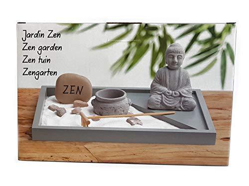 Spetebo Mini Zen Garten mit Buddha Figur - 6-teilig - Japanischer Steingarten Tischdeko