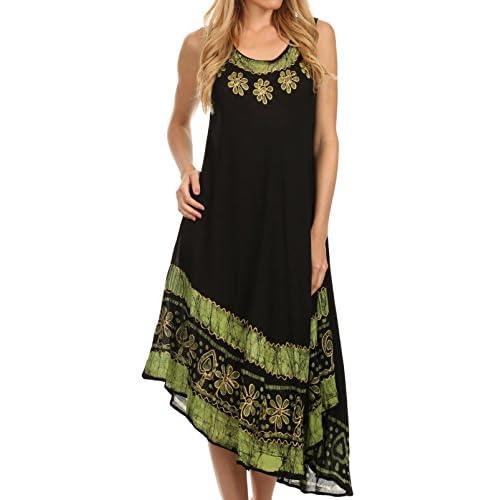 Sakkas Batik Flower Caftan Tank Dress/Cover Up