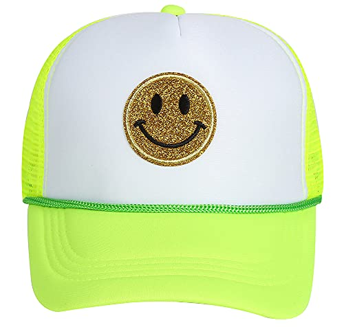 Lin Su Fashion Yellow Glitter Smiley Face Sequins Printing Neon High Crown Foam Mesh Back Trucker Hat-for Men and Women (Multicoloured-6)