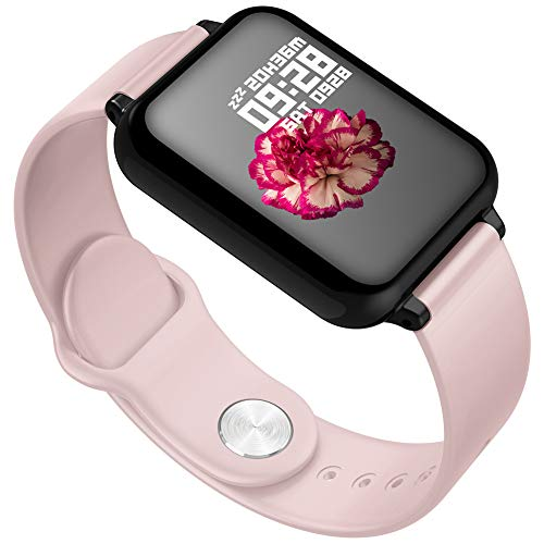 SYLL B57 Reloj Inteligente IP67 Reloj Inteligente a Prueba Agua Monitor de frecuencia cardíaca Modelo Deportivo múltiple Rastreador de Ejercicios Dispositivos portátiles Masculinos y Femeninos,Rosado