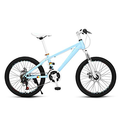 THENAGD Mountain Bike 20 Inch, Variable Speed Boys and Girls Middle School Students Teenagers Cross Country 24speed Bianchi blue 20 inches
